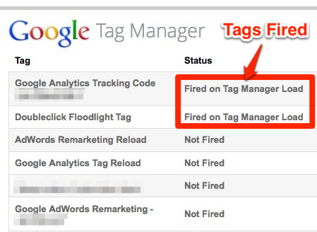 Then as you navigate your site you will see the status of your tags