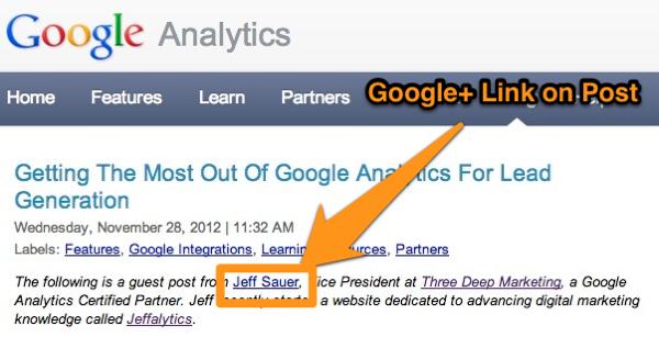 Google+ Link in GA Post